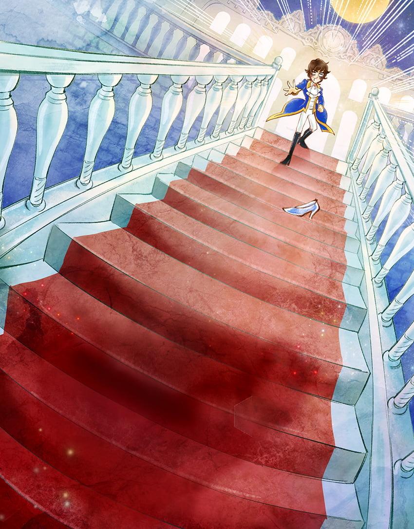 階段を駆け下りる脱毛デレラのイラスト