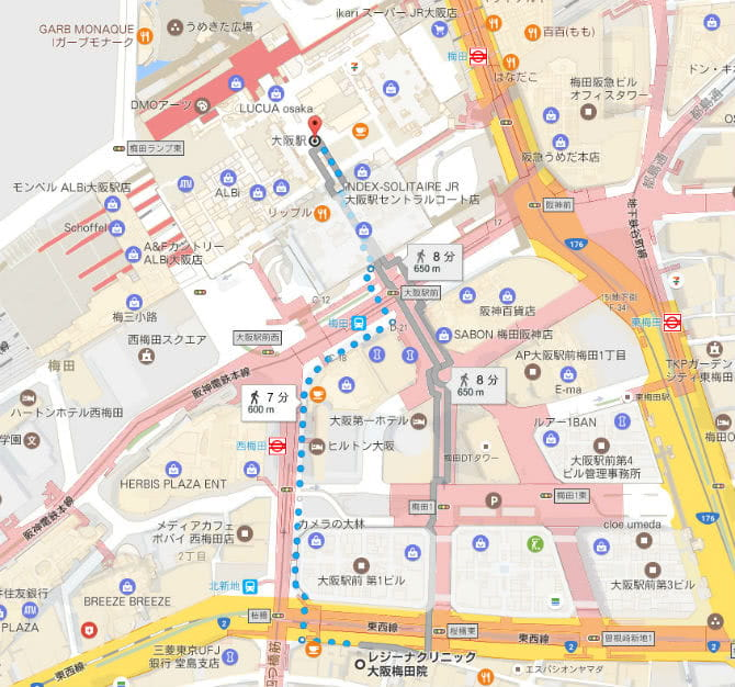 大阪駅からレジーナクリニックへまでの地図