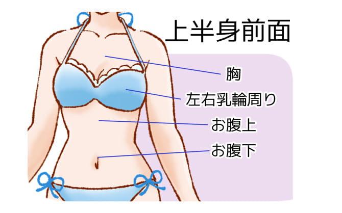 恋肌で施術可能な上半身の部位