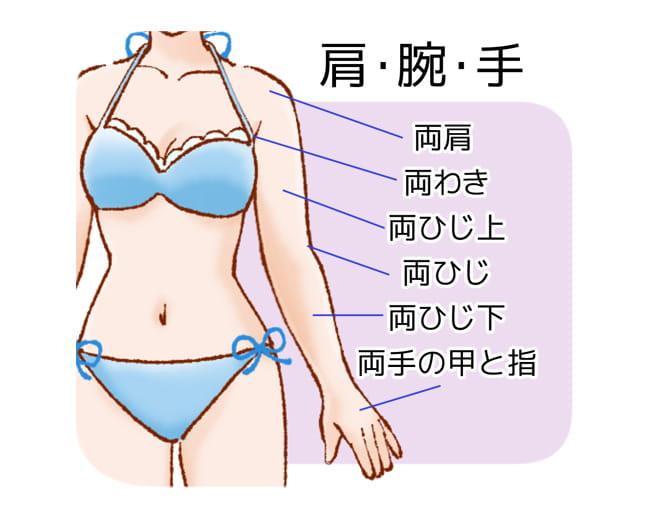 恋肌で施術可能な肩・腕・手の部位